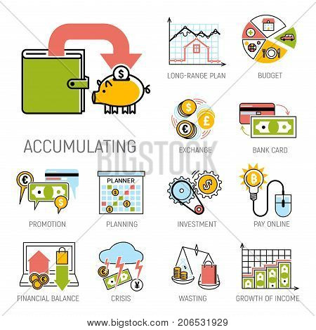 Banking money financial services set credit sign development finance online accumulation and bank investment management service vector illustration. Graph chart coin exchange commerce payment.