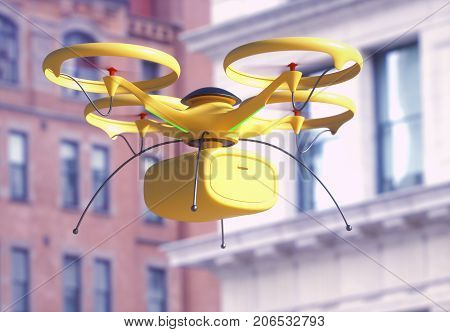 3D illustration. Conceptual image of package delivery by drone. Unmanned aerial vehicle (UAV) utilized to transport packages.