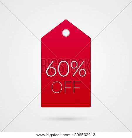 60 percent off shopping tag vector icon. Sixty red and white isolated discount symbol. Illustration sign for sale advertisement marketing project business retail wholesale shop store finance