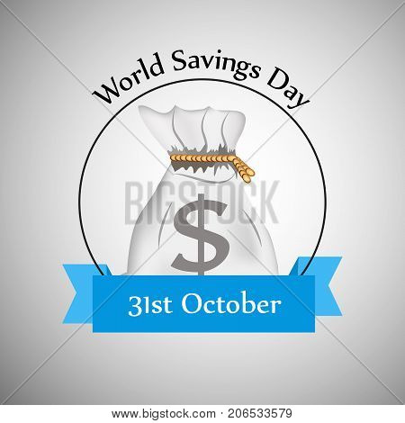 illustration of bag with World Savings Day 31st October text on the occasion of World Saving Day