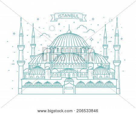 Vector thin line icons of Sultan Ahmed Mosque for travel design