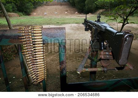 M60 machinegun on the Cu Chi shooting range. Vietnam.