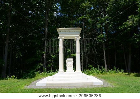 Tomb of Saint Gaudens in Saint-Gaudens National Historic Site in Cornish, New Hampshire, USA. This is the only NPS site in New Hampshire.