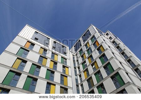 Swansea, UK: May 04, 2016: Dramatic angle of a high rise apartment building in Swansea University. Many of the students live on campus while studying for their degree.