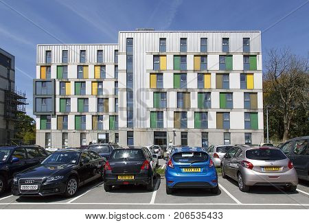 Swansea, UK: May 04, 2016: Student accommodation building in Swansea University with parking. Many of the students live on campus while studying for their degree.