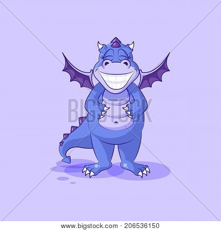 Vector Stock Illustration isolated Emoji character cartoon dragon dinosaur with a huge smile from ear to ear sticker emoticon for site, infographic, video, animation, website, mail, newsletter, report