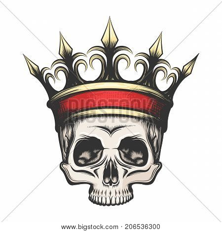 Hand drawn human skull in golden crown in tattoo style. Vector illustration