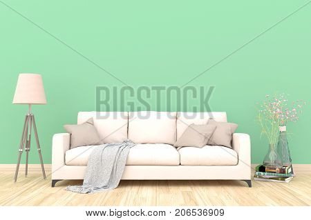 Minimal green living room interior with white fabric sofa, lamp, cabinet and plants on empty green wall background.3d rendering.