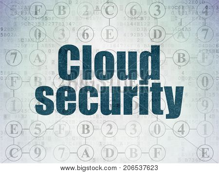 Protection concept: Painted blue text Cloud Security on Digital Data Paper background with  Scheme Of Hexadecimal Code