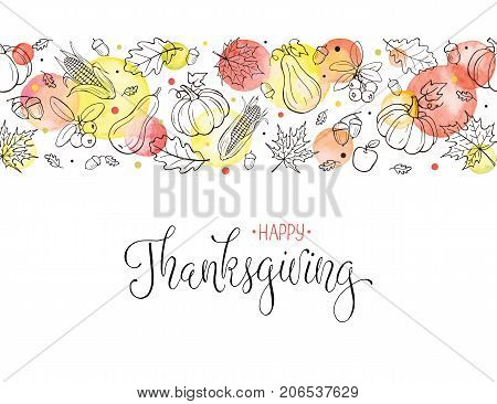 Happy Thanksgiving greeting card template. Horisontal frame composition with hand drawn autumn leaves, pumkins and watercolor circles on white background. Thanksgiving banner.