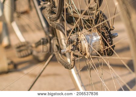 Bicycle wheel with spokes pinion, Gear and chain.