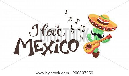 Mexican musician playing on guitar in sombrero and poncho. Mexican guy with mastaches in national costume isolated on white background.
