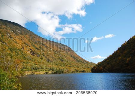 Profile Lake in fall, Franconia Notch State Park, New Hampshire, USA.