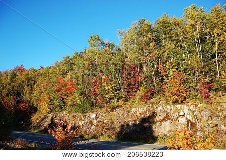 Fall Foliage in Kancamagus Highway, White Mountain in New Hampshire, USA.