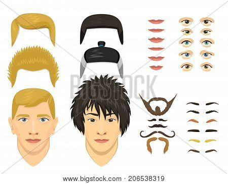 Man face emotions constructor elements eyes, nose, lips, beard, mustache avatar icon creator. Vector Illustration trendy flat design cartoon character parts creation spare parts spares animation.