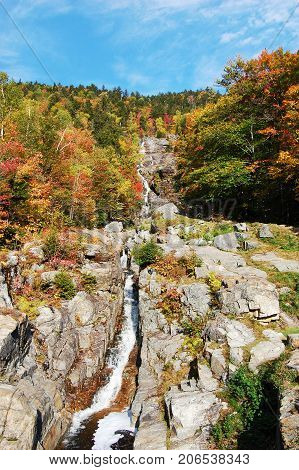 Silver Cascades in Crawford Notch State Park in White Mountains, New Hampshire, USA.