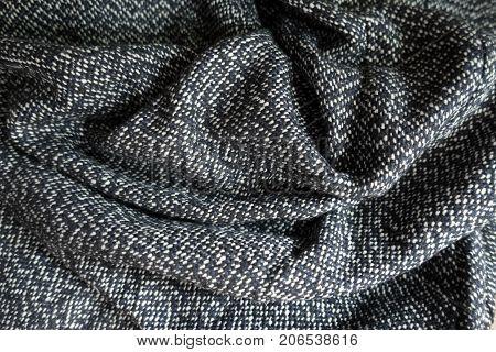 Draped Salt And Pepper Woolen Tweed Fabric