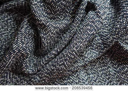 Rumpled Salt And Pepper Woolen Tweed Fabric