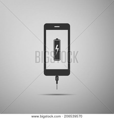 Smartphone battery charge icon isolated on grey background. Phone with a low battery charge and with USB connection. Flat design. Vector Illustration