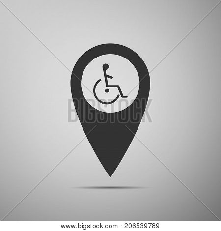 Disabled Handicap icon in map pointer. Invalid symbol icon isolated on grey background. Flat design. Vector Illustration