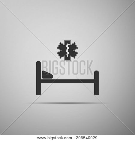 Hospital Bed with Medical symbol of the Emergency - Star of Life icon isolated on grey background. Flat design. Vector Illustration