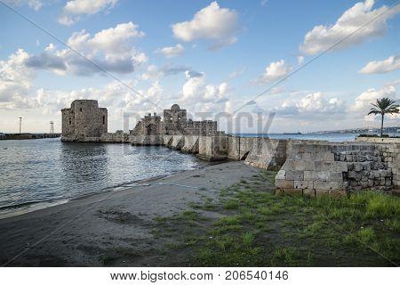 Crusaders Sea Castle at the seacoast of Sidon Saida in South Lebanon Middle east