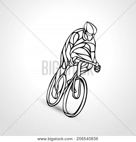 Abstract creative silhouette of bicyclist. Outline cyclist wave style logo. Side view. Vector illustration of bike