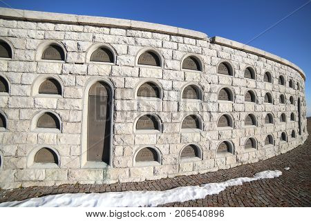 Vicenza, Vi, Italy - December 8, 2015: War Memorial Of First War World Called Ossario Monte Grappa.