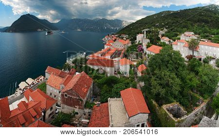 Detail of old town of Kotor with sea, Montenegro