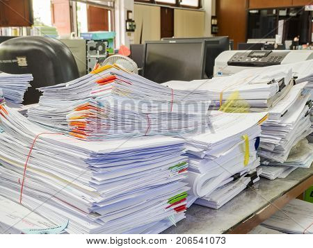 Chiang Mai, Thailand-october 15, 2016:close Up Of Business Documents Stack On Desk , Report Papers S