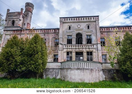 Exterior of ruined palace in Drezewo near Baltic Sea coast Poland