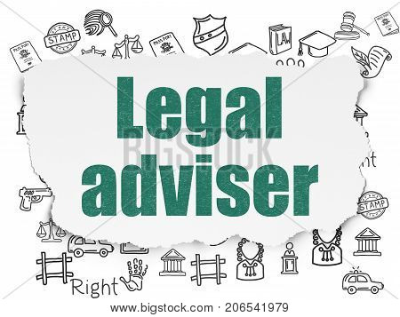 Law concept: Painted green text Legal Adviser on Torn Paper background with  Hand Drawn Law Icons
