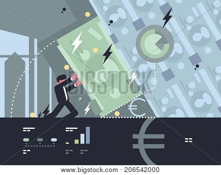 Collapse and fall of bank. Banker tries save bank from bankruptcy. Vector illustration