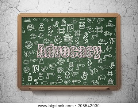 Law concept: Chalk Pink text Advocacy on School board background with  Hand Drawn Law Icons, 3D Rendering