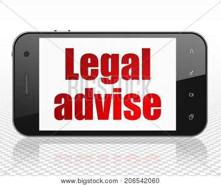 Law concept: Smartphone with red text Legal Advise on display, 3D rendering