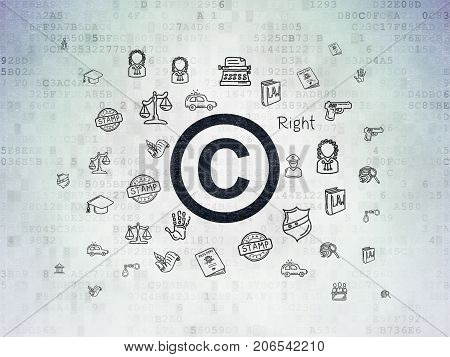 Law concept: Painted black Copyright icon on Digital Data Paper background with  Hand Drawn Law Icons
