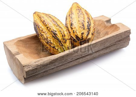 Cocoa Fruit, Raw Cacao Beans, Cocoa Pod Isolated On White Background