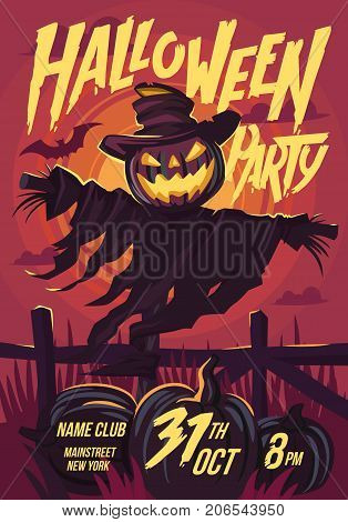 Halloween Scarecrow with a Jack head. Vector illustration