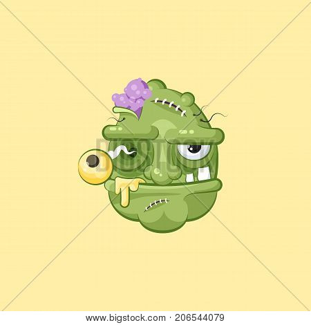 Stock vector isolated illustration horrible cartoon head, terrible facial expression of hungry zombie with evil emotion, emoji, sticker for celebrating Day of all Saints, Happy Halloween in flat style