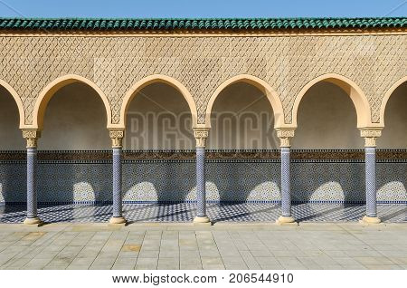 old arabic architecture with portico arcade colonnade