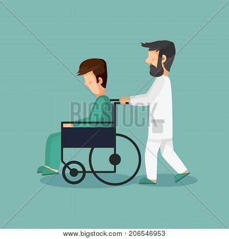 Doctor and patient in wheelchair. Doctor pushing a wheelchair with a sad patient. Vector stock.