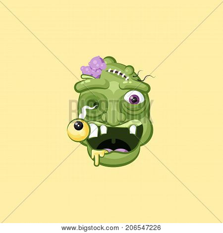 Stock vector isolated illustration horrible cartoon head, facial expression hungry zombie with rejoicing smiley emotion, emoji, sticker for celebrating Day of all Saints, Happy Halloween in flat style