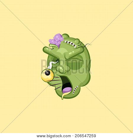 Stock vector isolated illustration horrible cartoon head, terrible facial expression zombie, yelling scream smiley emotion, emoji, sticker for celebrating Day of all Saints, Happy Halloween flat style