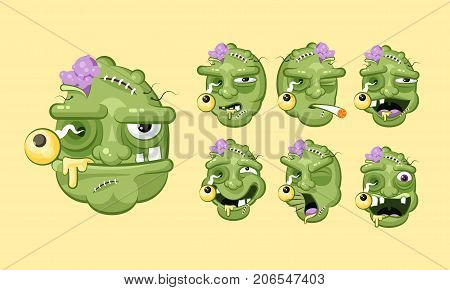 Set vector kit collection illustration horrible cartoon head, terrible facial expression of zombie different emotions, emoji, sticker for celebrating Day of all Saints, Happy Halloween in flat style
