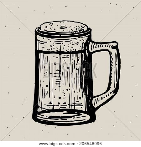 Retro style beer mug or glass engraving. Local brewery. Vintage vector engraving illustration for web, poster, label, invitation to oktoberfest festival, party. Beer pint sketch style illustration. Old engraving imitation. Beer cup hand drawn ink sketch.