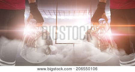 Graphic image of goal post at American football stadium with smoke