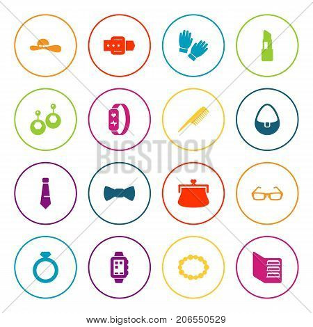 Collection Of Sunglasses, Pomade, Necktie And Other Elements.  Set Of 16 Accessories Icons Set.
