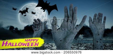 Digital image of happy Halloween text against digital image of bats flying over cropped hands