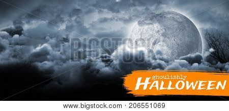 Graphic image of ghoulishly Halloween text against moon lighting the water