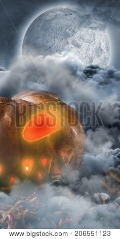Jack o lantern with leaves on table against celtic cross in front of moon behind clouds